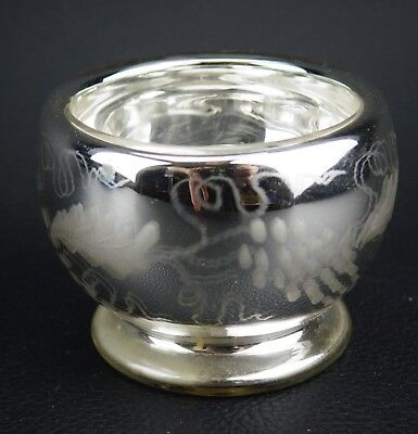 Antique Hand Blown Silver MERCURY GLASS Candy Dish
