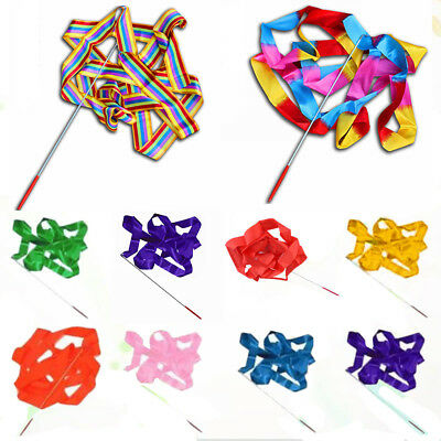 4M Dance Ribbon Gym Rhythmic Art Gymnastic Streamer Twirling Rod Stick Showy