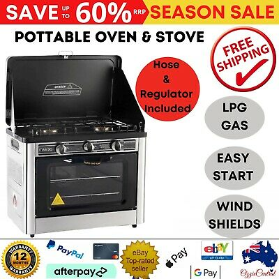 New Portable LPG Gas Oven Stove Cooktop Grill Bake Burner Camping BBQ Outdoor