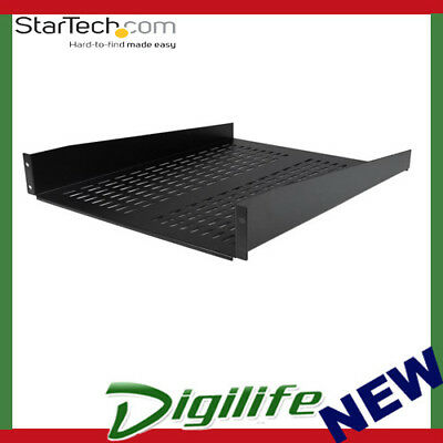 StarTech 2U 22in Vented Rack Mount Shelf – Fixed Server Rack Cabinet Shelf 50lbs