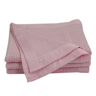 Living Textiles Cellular Blanket Cot PINK 120x150cm 100% Cotton