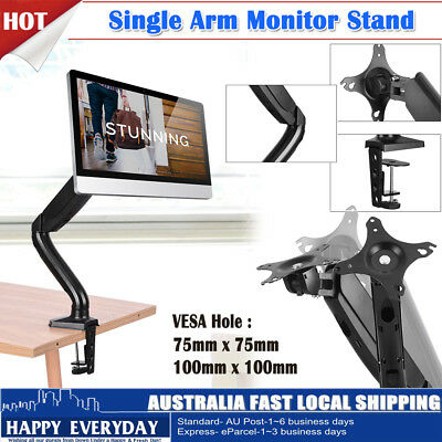 Single Arm Desk Mount Monitor HD LED LCD Stand Display Screen TV Strut VESA
