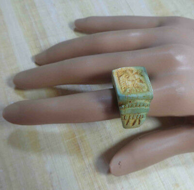 Egyptian Rare Faience Pharaoh Seal Fish Engraved Finger Ring Hieroglyphic #77