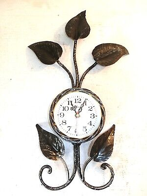 Big wall clock LEAVES wrought iron GOLD quartz