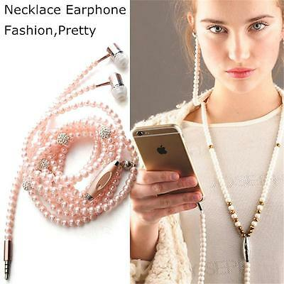 New Hot Chic Jewelry pearl Necklace Earphones Mic Beads 3.5mm In-ear Headphone
