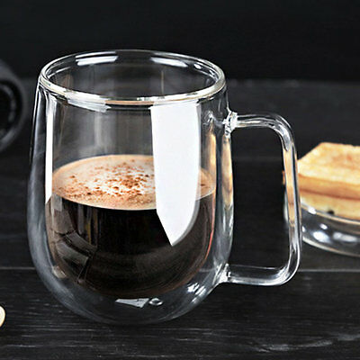 Transparent Double Layer Glass Heat Resistant Tea Coffee Mug Insulation Cup #f