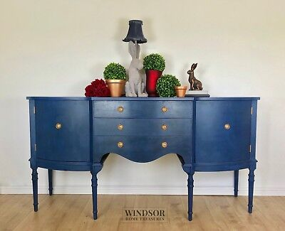 Large Blue Bowfronted Sideboard