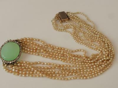 Georgian 6 Strand Natural Pearls Necklace With Diamond & Chalcedony Gold Clasp