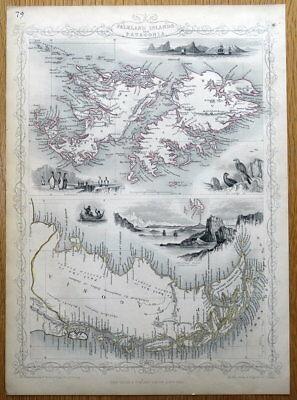 FALKLAND ISLANDS, PATAGONIA, ARGENTINA, S.AMERICA, Rapkin, antique map 1851