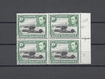 Kenya Uganda Tanganyika 1938-54 SG 135AB MNH Block of 4 Cat £500