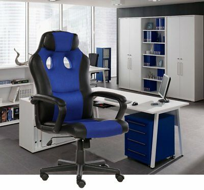 Executive Office Swivel Chair Headrest Blue Leather Gaming Seat Computer Desk