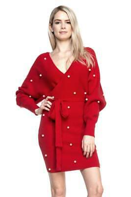 Brand New Women Sweater Paula Dress with Pearl  Sexy S / M / L  RED