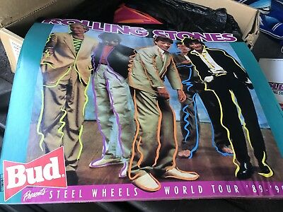 Budweiser Beer / 1989 Rolling Stones / Keith Richards Steel Wheels Tour Poster