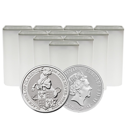 Lot of 100 - 2018 U.K. 5 Pound Silver Queen's Beast The Black Bull of Clarence .