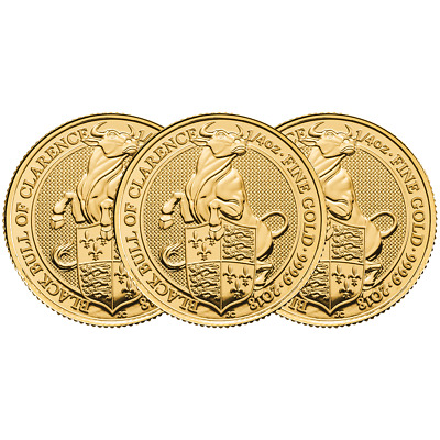 Lot of 3 - 2018 U.K. 25 Pound 1/4 oz Gold Queen's Beast The Black Bull of Claren