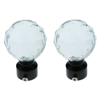 2x Crystal Ball Curtain Panel Rod End Cap Finial for Home Window Decor 28mm