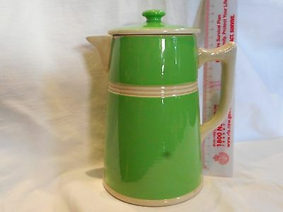 Vintage Rare Fowler Limited Australian Pottery Green Coffee / Tea Pot