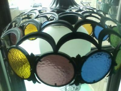 Vintage Cast Iron Stained Glass Hanging Ceiling Chandelier Lamp Eames Era