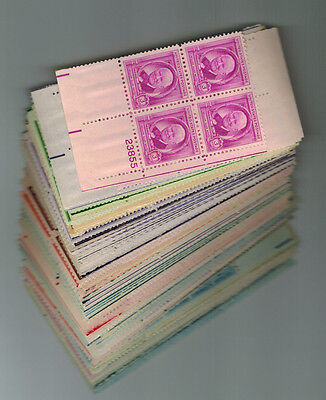 Collection of 50 all different old 3 cent  plate blocks of 4 Mint hinged OG