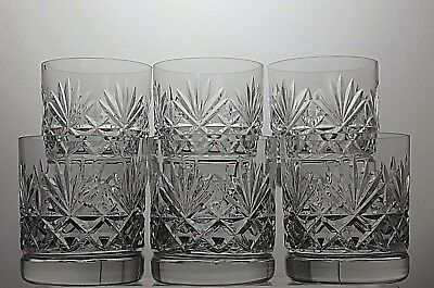 """Lovely Cut Glass Heavy Lead Crystal 9 Oz  Tumblers/rummer Set Of 6 - 3 1/2"""" Tall"""