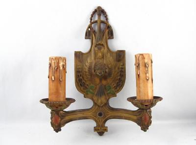 Antique Art Deco 2 Arms Cast Iron Wall Sconce Light Fixture W/ Bird