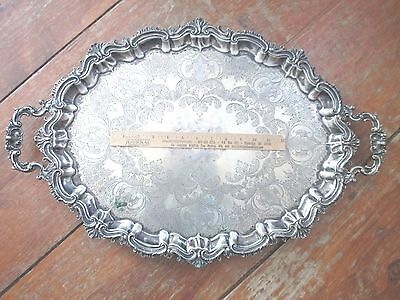 VINTAGE footed HUGE silverplate HIGH STYLE ornate SERVING TRAY elegant LARGE