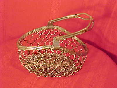 SOLID BRASS Wire French Vintage Basket Metalware with Swivel Handle