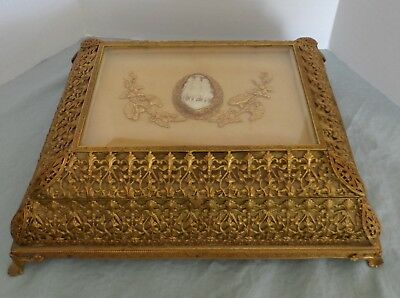 Large vintage gold tone ormolu cameo footed jewelry casket/jewelry box-unique