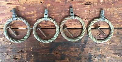 KBC Solid Brass Drawer Ring Pulls - Set Of 4 Rope Pattern Hardware Handles