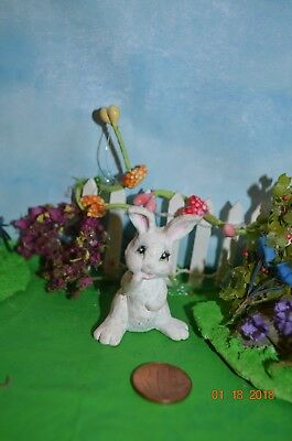 Vintage Ceramic Bisque Miniature Rabbit Bunny Easter Hand painted