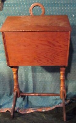Vtg Art Deco Wood Wooden Standing Sewing Box Table Chest Cabinet HANDMADE