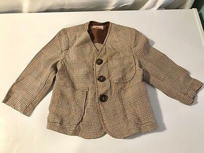 1950s Vintage SanTone by Juvenile Wool Sports Coat Suit Jacket Toddler Size 18mo