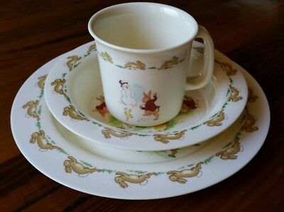 Royal Doulton Bunnykins Baby Set Plate Bowl Cup Seesaw and ring o rosie pics