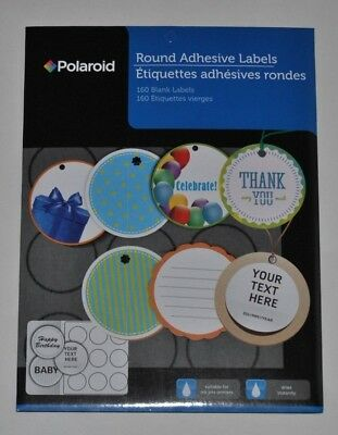 2 polaroid round adhesive labels 160 blank labels suitable for ink