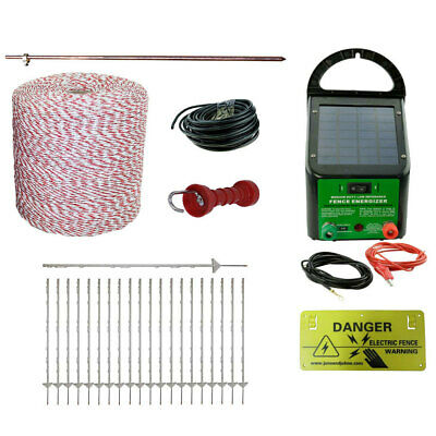 Electric Fence Kit Solar Energiser 20 Poly Posts 500m Wire Handle Earth Rod etc