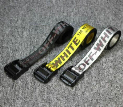US STOCK Off White Tie Down Yellow Nylon Cotton Big IRON Head Industrial Belt .