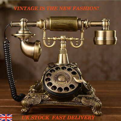 Vintage Antique Phone Handset European Style Rotary Dial Telephone Home Brass