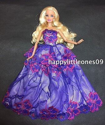 Embroidered Purple Barbie Doll Wedding Party Evening Dress/Clothes/Outfit New