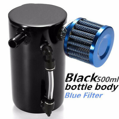 1x Universal 0.5L Engine Barb Oil Catch Tank Breather Can Reservoir Filter Black