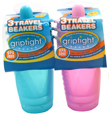 Griptight - 3 Value Pack Travel Beaker Sippy Sipper Cup - 200ml