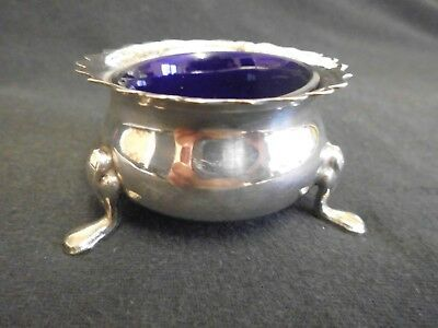 Silver Plated Salt Bowl With Blue Glass Inner . 3 Footed K A I N .Epns England.