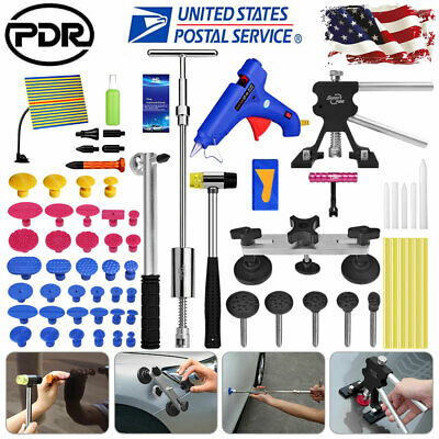 72× PDR Tools Dent Puller Lifter Paintless Hail Repair LED Light Hammer Removal