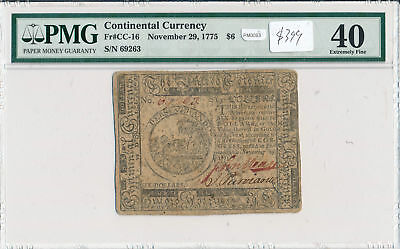 PM0093 November 29, 1775 Continental Currency $6 PMG XF40 Fr#CC-16 combine shipp