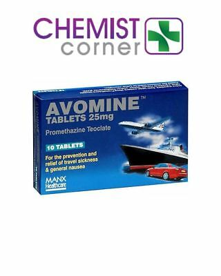 ⭐️SPECIAL OFFER⭐️Avomine 25mg 10 Tablets - For travel sickness