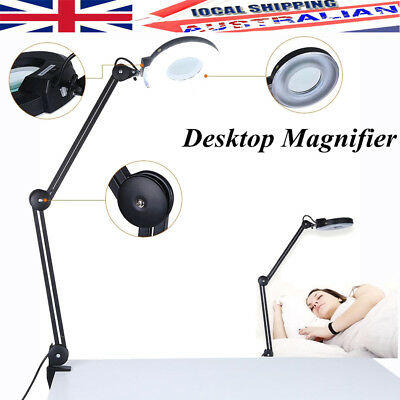 Beauty Cosmetic Tattoo Manicure 5X Magnifying Lighted Desk Magnifier Lamp +Clamp