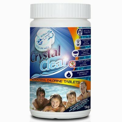 Crystal Clear 50 x 20g Premium Multifunction Chlorine Tablets for Hot Tubs, Spa