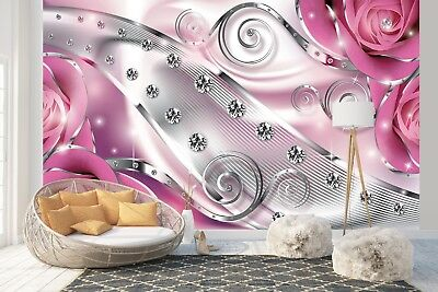 Wall Mural Photo Wallpaper EASY-INSTALL Fleece Pink Floral Diamond Abstract 2494