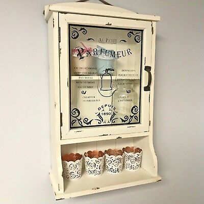 Vintage Cream Bathroom Style Wall Mounted Glass Cabinet Door French Shabby Chic