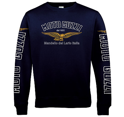 Classic Moto Guzzi Del Sweatshirt. Front, Sleeves and Back Print Sizes S - 5XL