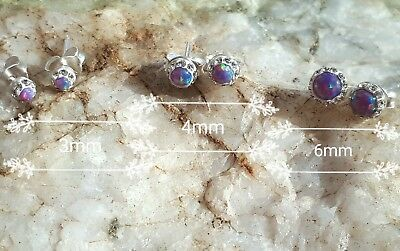 Pretty Dainty Pair 925 Sterling Solid Silver Purple Opal Stud Earrings